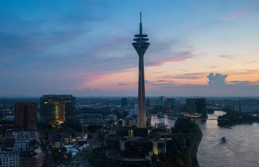 Rheinturm tower at Dusseldorf old town- Stock Photo or Stock Video of rcfotostock | RC-Photo-Stock