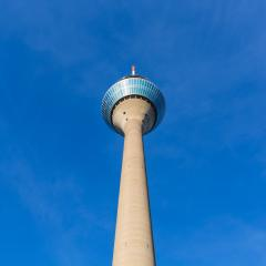 Rheinturm tower on blue sky in Dusseldorf : Stock Photo or Stock Video Download rcfotostock photos, images and assets rcfotostock | RC-Photo-Stock.: