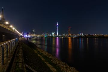 rhine Promenade in Dusseldorf at night : Stock Photo or Stock Video Download rcfotostock photos, images and assets rcfotostock | RC-Photo-Stock.: