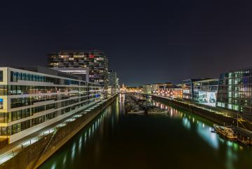 rhineau harbour at night in cologne : Stock Photo or Stock Video Download rcfotostock photos, images and assets rcfotostock | RC-Photo-Stock.: