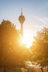 rhinetower at sunset in Dusseldorf- Stock Photo or Stock Video of rcfotostock | RC-Photo-Stock
