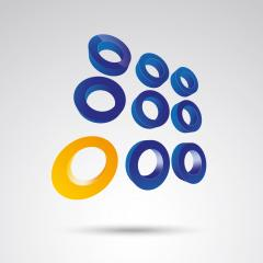 ring grid 3d vector icon as logo formation in blue and orange glossy colors, Corporate design. Vector illustration. Eps 10 vector file. : Stock Photo or Stock Video Download rcfotostock photos, images and assets rcfotostock | RC-Photo-Stock.:
