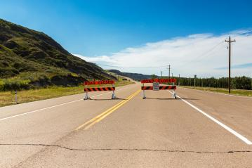 road closed at the road to drumheller in canada- Stock Photo or Stock Video of rcfotostock | RC-Photo-Stock
