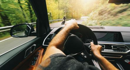 road trip, driving on highway road, Car accident with a motorcycle POV - first person view shot from car interior- Stock Photo or Stock Video of rcfotostock | RC-Photo-Stock