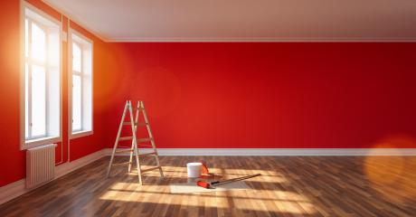 Room after renovation with ladder and paint bucket. Empty red wall, banner size, with copyspace for your individual text. : Stock Photo or Stock Video Download rcfotostock photos, images and assets rcfotostock | RC-Photo-Stock.: