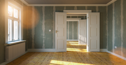 Room in renovation in elegant apartment for relocation with Flattened drywall walls- Stock Photo or Stock Video of rcfotostock | RC-Photo-Stock