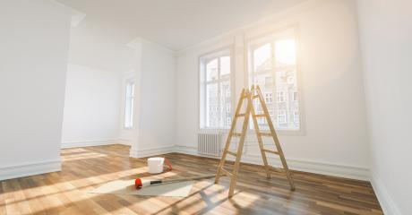 Room in renovation in elegant apartment for relocation with paint bucket- Stock Photo or Stock Video of rcfotostock | RC-Photo-Stock