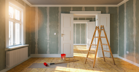 Room in renovation in elegant apartment for relocation with paint bucket and  Flattened drywall walls- Stock Photo or Stock Video of rcfotostock | RC-Photo-Stock