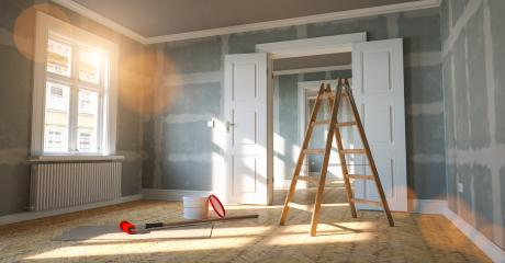 Room in renovation in elegant old apartment for relocation with paint bucket and  Flattened drywall walls- Stock Photo or Stock Video of rcfotostock | RC-Photo-Stock