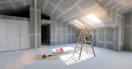 Room in renovation in the attic of a house for relocation with paint bucket and  Flattened drywall walls- Stock Photo or Stock Video of rcfotostock | RC-Photo-Stock