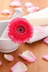 rose leafs on a towel with soap and gebera flower on wooden background- Stock Photo or Stock Video of rcfotostock | RC-Photo-Stock