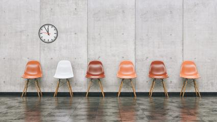 Row of chairs in a waiting room with wall clock, business concept image - 3D rendering- Stock Photo or Stock Video of rcfotostock | RC-Photo-Stock