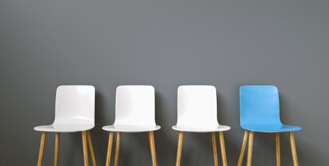 Row of chairs with one blue. Job opportunity. Business leadership. recruitment concept : Stock Photo or Stock Video Download rcfotostock photos, images and assets rcfotostock | RC-Photo-Stock.: