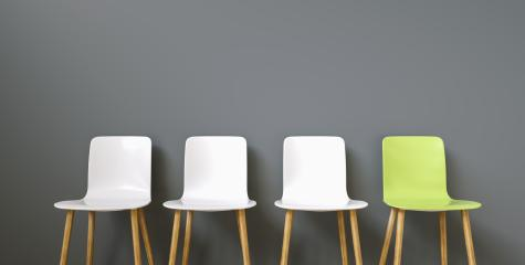 Row of chairs with one green. Job opportunity. Business leadership. recruitment concept : Stock Photo or Stock Video Download rcfotostock photos, images and assets rcfotostock | RC-Photo-Stock.: