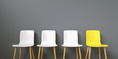 Row of chairs with one odd one out. Job opportunity. Business leadership. recruitment concept- Stock Photo or Stock Video of rcfotostock | RC-Photo-Stock