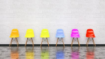 Row of colorful chairs in a waiting room, Job opportunity, Business leadership concept image - 3D rendering : Stock Photo or Stock Video Download rcfotostock photos, images and assets rcfotostock | RC-Photo-Stock.: