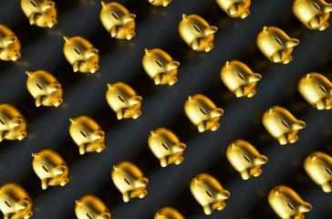 row of golden piggy banks- Stock Photo or Stock Video of rcfotostock | RC-Photo-Stock