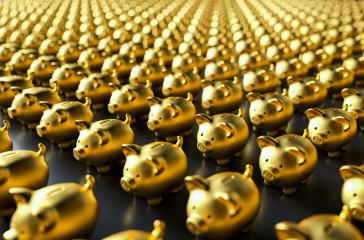 row of piggy banks, gold luxery concept image : Stock Photo or Stock Video Download rcfotostock photos, images and assets rcfotostock | RC-Photo-Stock.: