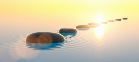 Row of stones in calm water in the wide ocean, meditation and zen concept image- Stock Photo or Stock Video of rcfotostock | RC-Photo-Stock