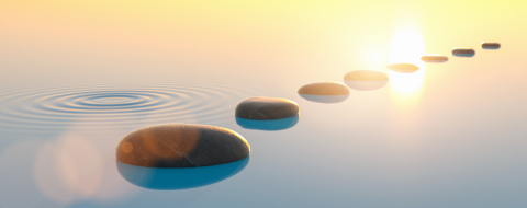 Row of stones in calm water in the wide ocean, meditation, zen and feng shui concept image- Stock Photo or Stock Video of rcfotostock | RC-Photo-Stock