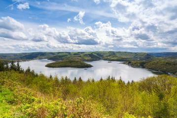 Rursee lake at the Eifel at spring with cloudy sky- Stock Photo or Stock Video of rcfotostock | RC-Photo-Stock