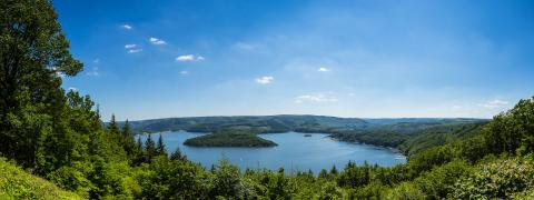 Rursee lake panorama at summer in the Eifel- Stock Photo or Stock Video of rcfotostock | RC-Photo-Stock