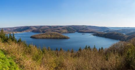 Rursee lake panorama at the nationalpark Eifel- Stock Photo or Stock Video of rcfotostock | RC-Photo-Stock