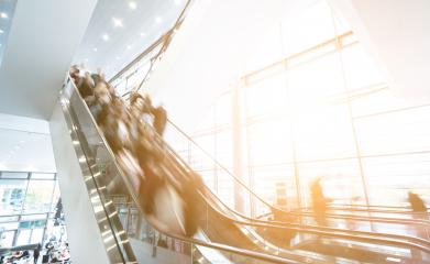 Rush hour at Exhibition escalators- Stock Photo or Stock Video of rcfotostock | RC-Photo-Stock
