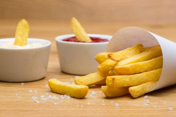 salted french fries with sauces  : Stock Photo or Stock Video Download rcfotostock photos, images and assets rcfotostock | RC-Photo-Stock.: