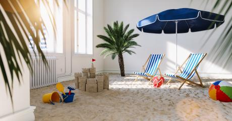 Sand from the beach with a deck chair at home as a quarantine vacation concept during coronavirus lockdown Infection Protection- Stock Photo or Stock Video of rcfotostock | RC-Photo-Stock