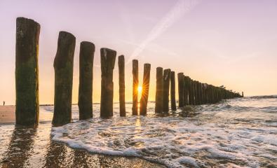 Sandy beach with breakwaters at sunset- Stock Photo or Stock Video of rcfotostock   RC-Photo-Stock