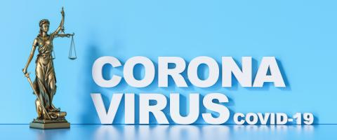 Sars-CoV-2 coronavirus which triggers the lung disease Covid-19 Statue of Justice - Lady Justice or Iustitia / Justitia the Roman Goddess of Justice : Stock Photo or Stock Video Download rcfotostock photos, images and assets rcfotostock | RC-Photo-Stock.: