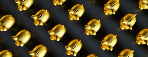 Saving money, row of golden piggy banks, banner size : Stock Photo or Stock Video Download rcfotostock photos, images and assets rcfotostock | RC-Photo-Stock.: