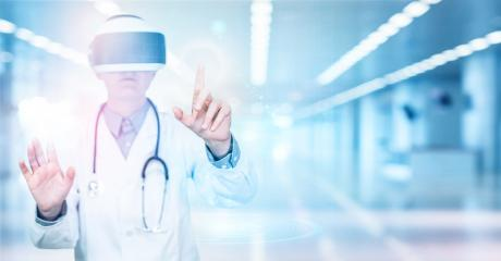 Scientific doctor uses new modern technology with VR glasses. Doctor in hospital wears virtual reality glasses. Innovative treatment and scientific research. : Stock Photo or Stock Video Download rcfotostock photos, images and assets rcfotostock | RC-Photo-Stock.: