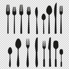 Set of cutlery icons on checked transparent background. Vector illustration. Eps 10 vector file.- Stock Photo or Stock Video of rcfotostock | RC-Photo-Stock