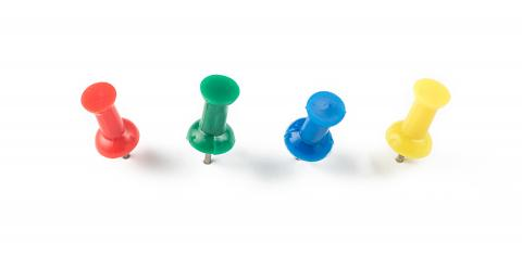 set of push pins in different colors isolated on white background- Stock Photo or Stock Video of rcfotostock   RC-Photo-Stock