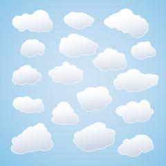 Set of white sky clouds. Cloud icons or shapes. Set of different cloud collections. Vector illustration. Eps 10 vector file.  : Stock Photo or Stock Video Download rcfotostock photos, images and assets rcfotostock | RC-Photo-Stock.: