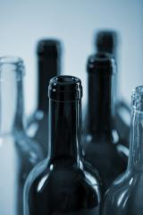 several wine glass bottles in blue color- Stock Photo or Stock Video of rcfotostock | RC-Photo-Stock