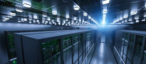 Shot of Data Center With Multiple Rows of Fully Operational Server Racks. Modern Telecommunications, Cloud Computing, Artificial Intelligence, Database, Super Computer Technology Concept image- Stock Photo or Stock Video of rcfotostock | RC-Photo-Stock
