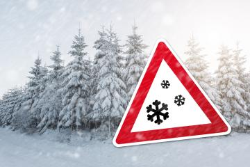 sign on a snowy forest for snowfall at the winter time : Stock Photo or Stock Video Download rcfotostock photos, images and assets rcfotostock | RC-Photo-Stock.: