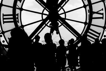 silhouette of the clock with crowd of people- Stock Photo or Stock Video of rcfotostock | RC-Photo-Stock