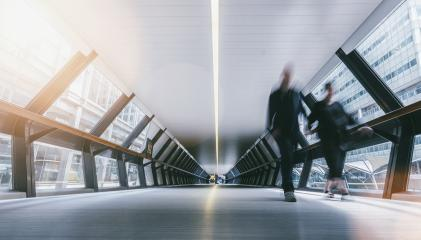 Silhouettes of blurred people in a futuristic tunnel- Stock Photo or Stock Video of rcfotostock   RC-Photo-Stock