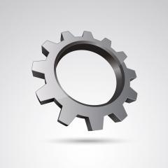 silver gear or cogwheel 3d vector icon as logo formation in silver metalic glossy colors, Corporate design. Vector illustration. Eps 10 vector file.- Stock Photo or Stock Video of rcfotostock | RC-Photo-Stock