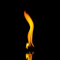 single fire flames with reflection on black background- Stock Photo or Stock Video of rcfotostock | RC-Photo-Stock