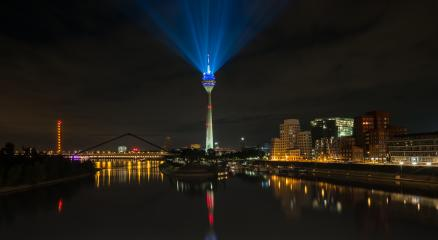Skyline of Dusseldorf at night with illuminated rhine tower in media harbor district- Stock Photo or Stock Video of rcfotostock | RC-Photo-Stock