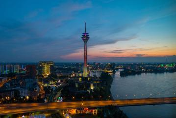 skyline of Dusseldorf in Germany at night- Stock Photo or Stock Video of rcfotostock | RC-Photo-Stock