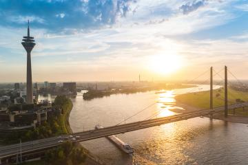 skyline of Dusseldorf in Germany during sunset : Stock Photo or Stock Video Download rcfotostock photos, images and assets rcfotostock | RC-Photo-Stock.: