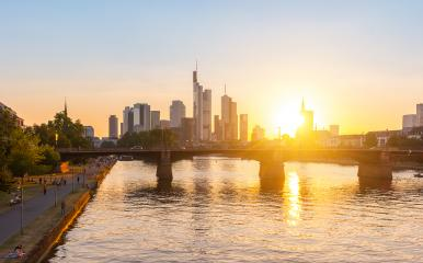 Skyline of Frankfurt at sunset on the main river, Germany- Stock Photo or Stock Video of rcfotostock | RC-Photo-Stock