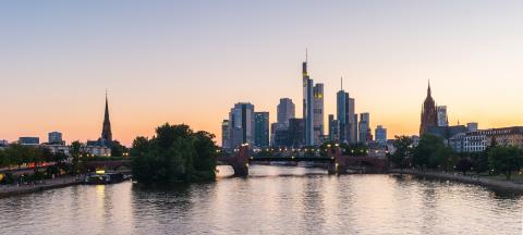 Skyline of Frankfurt City at dusk- Stock Photo or Stock Video of rcfotostock | RC-Photo-Stock