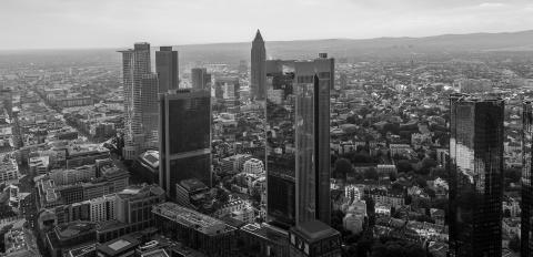 Skyline of frankfurt with business skyscrapers in black and white colors- Stock Photo or Stock Video of rcfotostock | RC-Photo-Stock